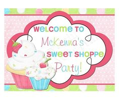 Cupcake Theme Birthday Party Sign
