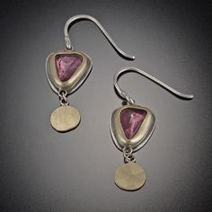 Rose Cut Pink Tourmaline with 22k Disks by Ananda Khalsa. These stunning earrings feature rose cut pink tourmaline set in 22k gold bezels, backed with sterling silver and accented with 22k hammered disks. Each stone is organic shaped and may vary from photo. Matte finish.