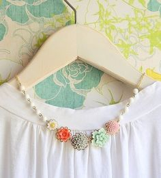 etsy | sea breaze floral necklace  $45  What a super cute necklace... perfect for dressing up a plain white t-shirt