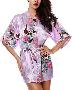 e3d7d6acd6 Avidlove Womens Kimono Robes Peacock and Blossoms Silk Nightwear Short  Style