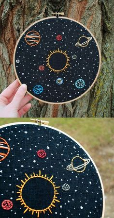 Solar System Embroidery Art 8 hoop Sun and planets in orbit stars hand sti. Solar System Embroidery Art 8 hoop Sun and planets in orbit stars hand sti. Embroidery Stitches Tutorial, Embroidery Flowers Pattern, Creative Embroidery, Hand Embroidery Stitches, Embroidery Hoop Art, Machine Embroidery Designs, Embroidery Ideas, Beginner Embroidery, Hand Stitching