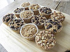 Baked oatmeal cakes with toppings that freezes well.