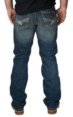 Rock 47 by Wrangler Men's Electric Slim Fit Boot Cut Jean
