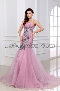 1st-dress.com Offers High Quality Exquisite Applique Body Pink Long Formal Mermaid Cocktail Dress,Priced At Only US$189.00 (Free Shipping)