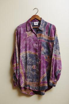 1990s Batik Long Sleeve Button Up Kumala Shirt in Purple, Blue/Grey, and Beige Large
