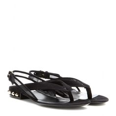 mytheresa.com - Classic studded suede sandals - Flat - Sandals - Shoes - Balenciaga - Luxury Fashion for Women / Designer clothing, shoes, bags