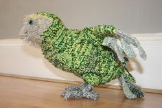 A crocheted Kakapo, modelled mostly after Sirocco. He is life size and poseable in wings and legs. I used 3 threads of differently coloured wool and a Crocheted Kakapo side Nz Art, Art N Craft, Christmas Items, Crochet Animals, Baby Items, Headbands, Dinosaur Stuffed Animal, Crochet Patterns, Wings