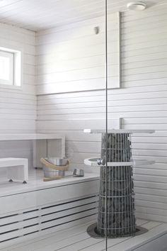 white sauna - lisbet e. Sauna Design, Bath Design, Finnish Sauna, Steam Sauna, Spa Rooms, Sauna Room, Saunas, Scandinavian Living, Home Spa