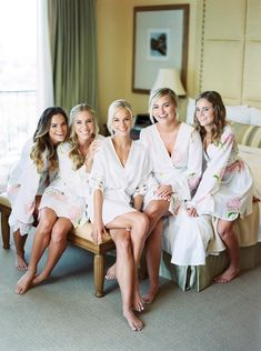 Robes are perfect for the morning of your wedding. Not only are they comfortable, but they can be taken off without messing up your bridal hair.