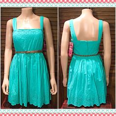 NWT! Teal Boho Spring/Summer Dress NWT! Beautiful boho Summer/Spring teal dress with lace trim at neckline and throughout bottom, wide straps, synched waist and pleated flare, attached belt included! Excellent NWT never worn condition! Juniors size 5.     ✅ASK QUESTIONS ✅Bundle ✅REASONABLE Offers ❌NO Trades ❌NO Off-site Transactions Emerald Sundae Dresses