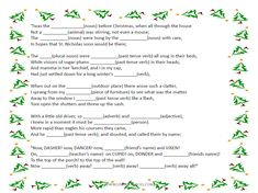 "'Twas the Night Before Christmas  fill-in the blank for parts of speech and categorization cards FREEBIES ...includes sequencing activity for ""chocolate mice""  Happy Holidays! ""like"" at www.facebook.com/speechsnacks"