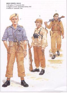 BRITISH ARMY - Medio Oriente, 1942-45 - 1. Mitragliere, 2° Commando, 1944 - 2. Maggiore A. Lassen, Special Boat Section, 1945 - 3. Soldato, 3° Commando, 1941