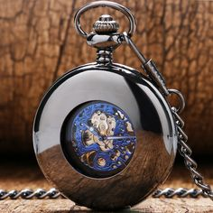 12.30$  Watch now - http://ali1da.shopchina.info/go.php?t=32616427361 - Retro Black Mechanical Pocket Watch Men Automatic Watches with Chain Gift for Father's Day P858C  #buyonline