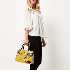 Yellow floral boxy tote handbag