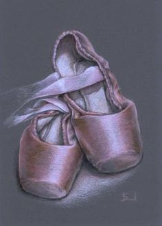 Pointe shoes original coloured pencil drawing