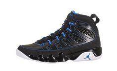 Mens Nike Air Jordan 9 Retro Basketball Shoes Black / White / Photo Blue 302370 007 on Sale