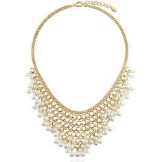 BERRICLE Gold-Tone Simulated Pearl Fashion Bib Statement Necklace ($33) ❤ liked on Polyvore featuring jewelry, necklaces, accessories, joyas, statement necklace, white, women's accessories, faux pearl statement necklace, faux pearl jewelry and white bib necklace