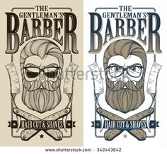 logotype for barbershop. Sexy man with beard. Vector