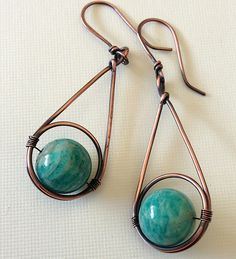 Copper earrings with amazonite beads