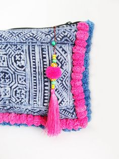 Handmade Pom Pom Tassel Bag by the HMONG people in Thailand via ThaiHandbags on Etsy