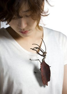 Yojae Lee Brooch: Insects_ mantis, 2014 Frog's skin, leather, sterling silver, polymer clay, beads.