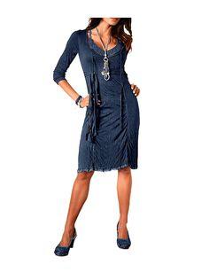 Linea Tesini Damen-Kleid Kleid Blau Größe 40: Amazon.de: Bekleidung