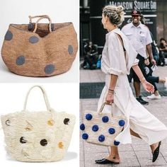 bamboo bag and straw bags . - Women's style: Patterns of sustainability Nude Bags, Round Straw Bag, Tote Bags Handmade, Beautiful Handbags, Basket Bag, Studded Sandals, Crochet Handbags, Summer Bags, Knitted Bags