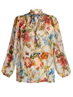 Floral-print tie-neck blouse | Dolce & Gabbana | MATCHESFASHION.COM UK