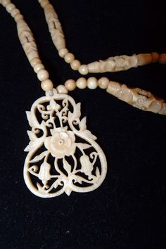 Antique Chinese Carved Bone Bead Pendant Necklace - Buy it while you can.