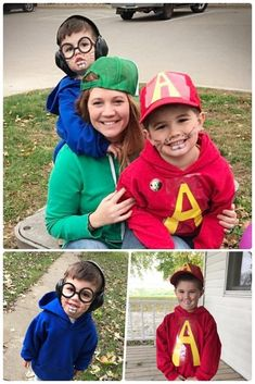 DIY Kid Halloween costume of Alvin and the Chipmunks was super easy and quick in the busy month of October. Simple red, blue and green hoodies along with some inflatable instruments will provide all the cuteness you need for these Alvin and the chipmunk characters at your next Halloween Party! DIY character costume that works great for groups, siblings and families. #alvin #chipmunks #alvinandthechipmunks #halloween #halloweencostumes #diyhalloweencostumes #diy #diyhalloween