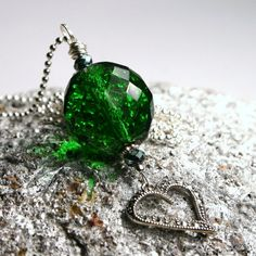 Long Marcasite Necklace Vintage Sterling Heart & Deep Bold Emerald Green Glass Faceted Ball Art Deco Layering Upcycled Studded Encrusted