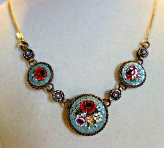 SALE Art Deco Micro Mosaic Necklace, Large Floral Mosaic Necklace,