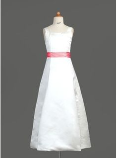 A-Line/Princess Square Neckline Floor-Length Sash Zipper Up Covered Button Regular Straps Sleeveless White General Satin Junior Bridesmaid Dress