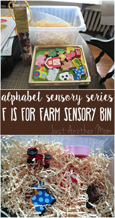 Are you looking for a fun farm themed idea? Check out this farm sensory bin. Part of the Alphabet Sensory Activities series.