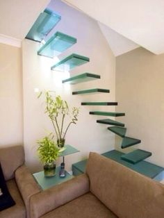 Blue glass stairs