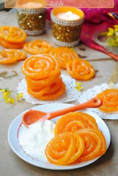 Jalebi-one of the treats from my childhood. It's essentially fried spirals of dough soaked in syrup. Used to get them from the street vendors when we lived in India.