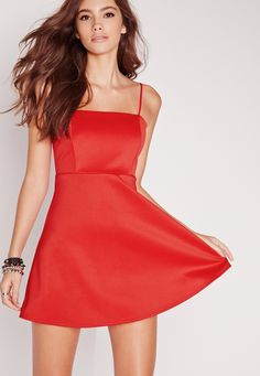 Missguided - Strappy Square Neck Skater Dress Red
