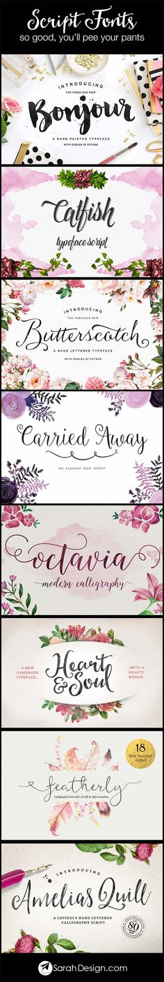 Script and calligraphy fonts from creative market
