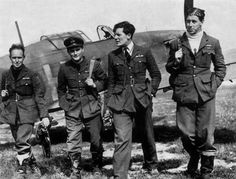 """Being assigned to Red Section of No 73 Squadron RAF, Sgt Lionel S """"Len"""" Pilkington, with F/O Harold G """"Ginger"""" Paul, F/O Newell """"Fanny"""" Orton and F/O Edgar J """"Cobber"""" Kain (left to right) at Rouvres, fought his first combat on 25 January 1940 with a He 111 south of Longuyon. Another followed on 26 March, when the 20-year-old pilot fired all his ammunition at Me 110 fighters, one hitting his propeller with return fire and causing him to drop 10,000ft with a spluttering engine."""