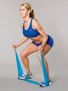 Skater Squats: Targets Glutes & hamstrings.  1. Stand on top of band w/ feet shoulder-width apart, knees slightly bent, holding an end in each hand.  2. Step out to the right, pushing foot into band.  3. Squat, keeping knees behind toes. Hold for 2 counts, then step back to starting position.  4. Do 16 reps. Switch sides & repeat.