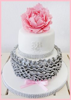 Adorable pink and gray cake