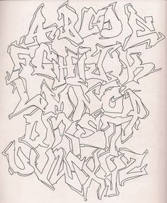 Graffiti Alphabet - Outline by DonnaSprockets on DeviantArt Graffiti Lettering Alphabet, Graffiti Text, Graffiti Writing, Tattoo Lettering Fonts, Graffiti Wall Art, Street Art Graffiti, Graffiti Artists, Creative Lettering, Cool Lettering