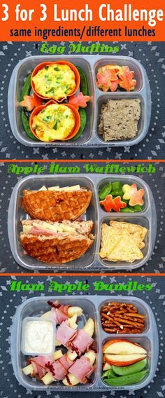 3 for 3 lunch challenge. More about these lunches here: Same ingredients, 3 lunches Packed in EasyLunchboxes. Lunch Box Bento, Packed Lunch Boxes, Easy Lunch Boxes, Lunch Snacks, Lunch Ideas, Dinner Ideas, Healthy Lunches For Work, Healthy Snacks, Healthy Recipes
