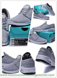 designer fashion e0761 075d6 Hommes-Femmes Nike SB Stefan Janoski Max 631303-001 Light gray   Blanc