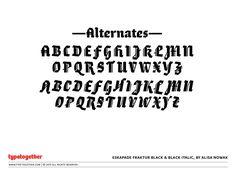 Coming soon: Eskapade Fraktur Black & Black Italic   by TypeTogether