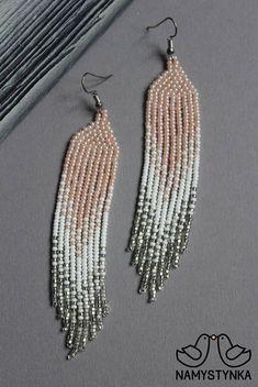 Peach beaded earrings Long earrings Native american Seed bead
