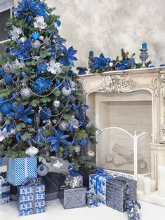 Blue Christmas (image only) Blue Christmas Tree Decorations, Silver Christmas Tree, Christmas Tree Design, Christmas Colors, Rustic Christmas, Christmas Home, Christmas Trees, Victorian Christmas, Photography
