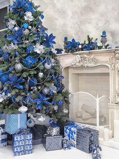 Blue Christmas (image only) Blue Christmas Tree Decorations, Flocked Christmas Trees, Christmas Backdrops, Silver Christmas Tree, Christmas Tree Design, Christmas Colors, Rustic Christmas, Christmas Home, Christmas Mantles