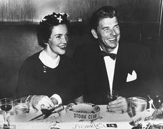 Nancy Davis and Ronald Reagan enjoy a drink at the Stork Club, New York, before their marriage in the early 1950s