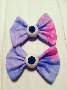 2 PASTEL GALAXY eyeball bows pastel goth spooky cute. $20.00, via Etsy.